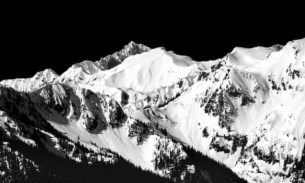 Wall Art - Photograph - Olympic Mountains In Spring - Black And White Mural by Douglas Taylor