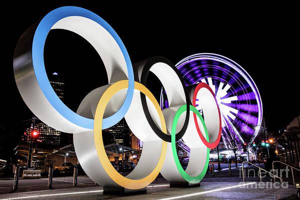 Photograph - Olympic Rings Centennial Park Atlanta Ga At Night 1 by Sanjeev Singhal