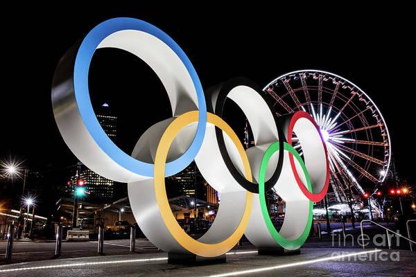 Photograph - Olympic Rings Centennial Park Atlanta Ga At Night 2 by Sanjeev Singhal