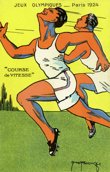 1924 Drawing - Olympics 1924 Paris France Sprinters by French School
