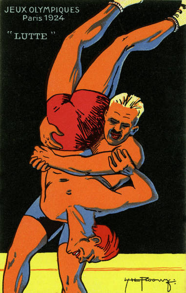 1924 Drawing - Olympics 1924 Paris France Wrestlers by French School