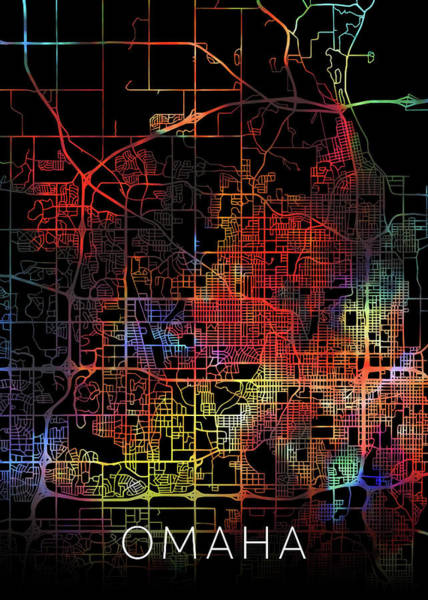 Wall Art - Mixed Media - Omaha Nebraska City Watercolor Street Map Dark Mode by Design Turnpike