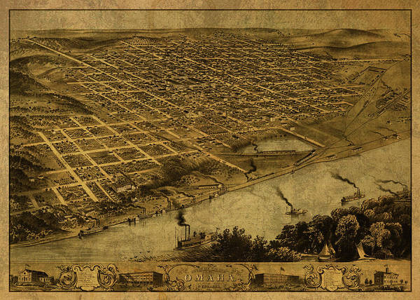 Wall Art - Mixed Media - Omaha Nebraska Progress Vintage City Street Map 1868 by Design Turnpike