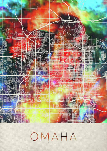 Wall Art - Mixed Media - Omaha Nebraska Watercolor City Street Map by Design Turnpike