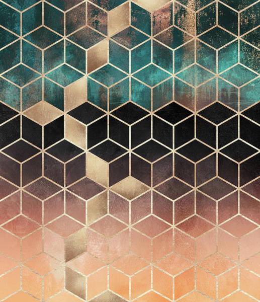 Geometry Digital Art - Ombre Dream Cubes by Elisabeth Fredriksson