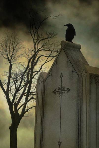 Wall Art - Photograph - Ominous Clouds Surround Crow by Gothicrow Images