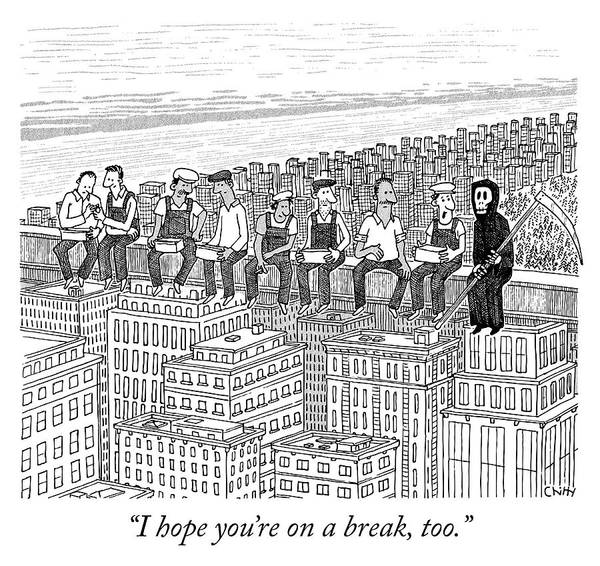 Skyscrapers Drawing - On A Break by Tom Chitty