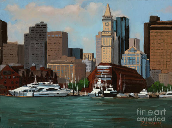 City Scene Painting - On A Clear Day by Laura Lee Zanghetti