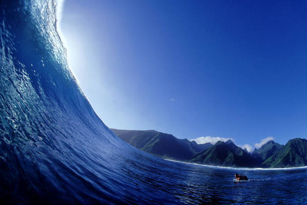 Surfing Photograph - On A Wave Looking Out Teahupoo, Tahiti by Scott Winer