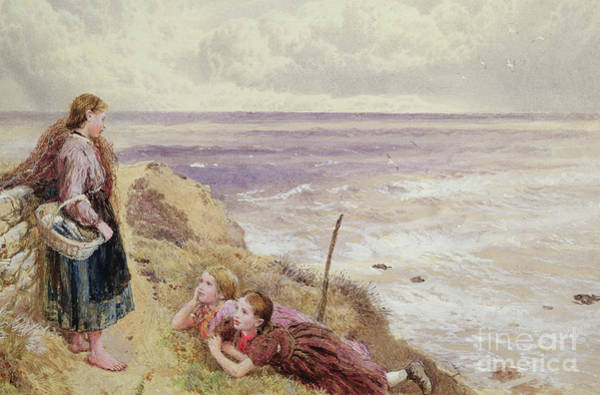 Wall Art - Painting - On Cullercoats Cliffs by Myles Birket Foster