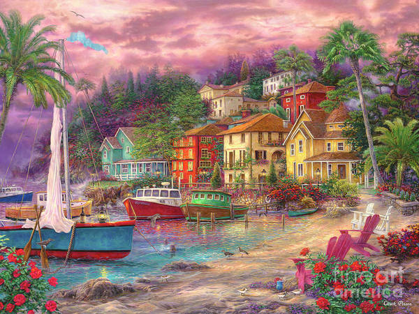 Caribbean Wall Art - Painting - On Golden Shores by Chuck Pinson