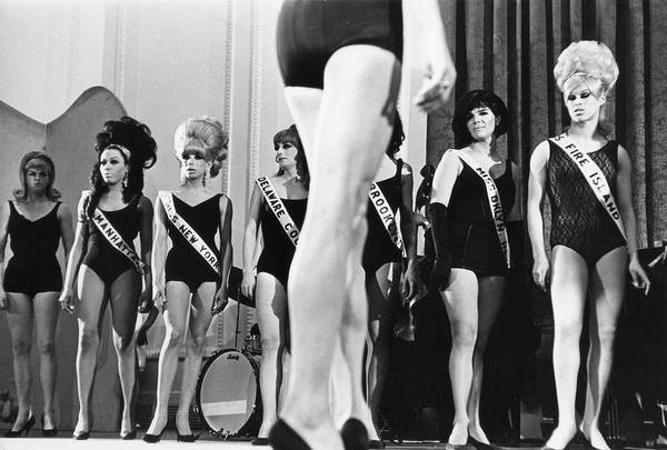 Contest Photograph - On Stage At Drag Beauty Contest by Fred W. McDarrah
