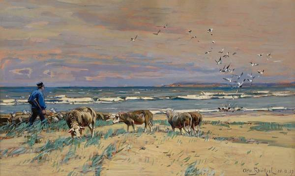Baltic Sea Painting - On The Baltic Sea Beach by Otto Stutzel