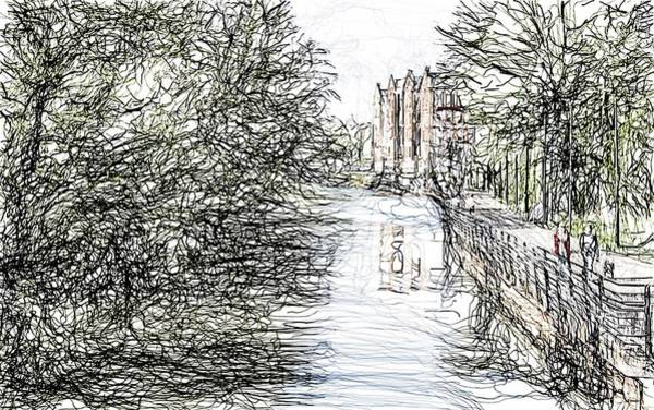 Beautiful Park Drawing - On The Banks Of The River Promenade  by Karl-Heinz Luepke