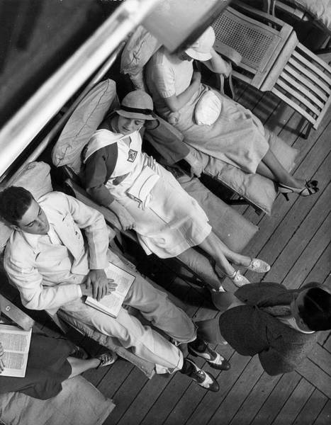 Boat Deck Photograph - On The Deck Of Queen Of Bermuda 1932 by The New York Historical Society