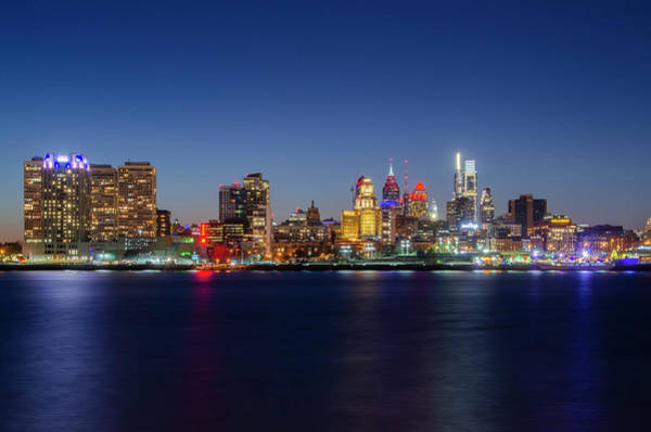 Wall Art - Photograph - On The Delaware River - Philadelphia At Night by Bill Cannon