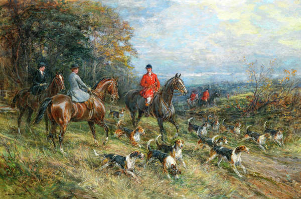 Wall Art - Painting - On The Hunt by Heywood Hardy