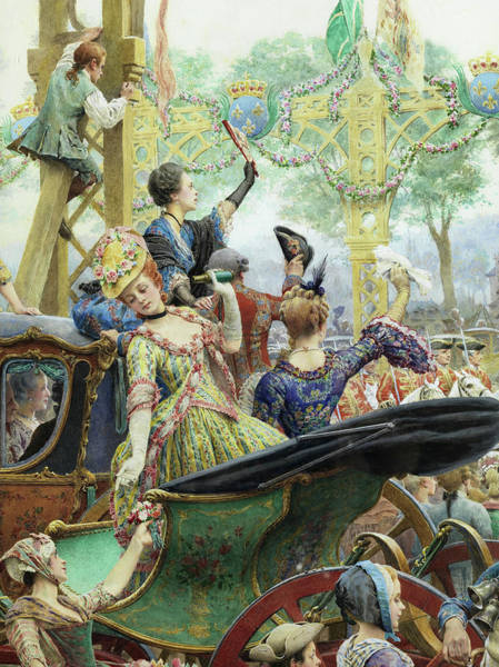 Nobility Painting - On The King's Passage, Detail  by Maurice Leloir