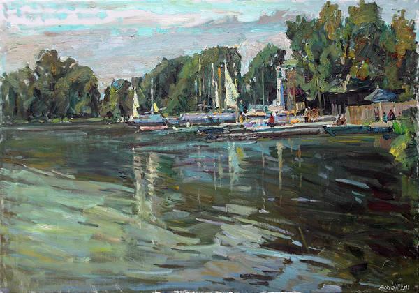 Wall Art - Painting - On The Lake White by Juliya Zhukova