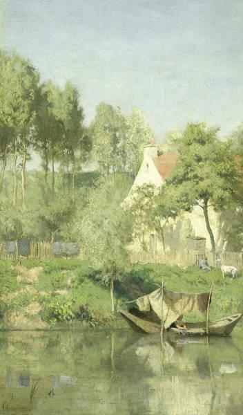 Painting - On The Oise by Coen Metzelaar