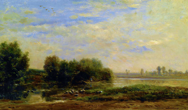 Wall Art - Painting - On The Oise - Digital Remastered Edition by Charles-Francois Daubigny
