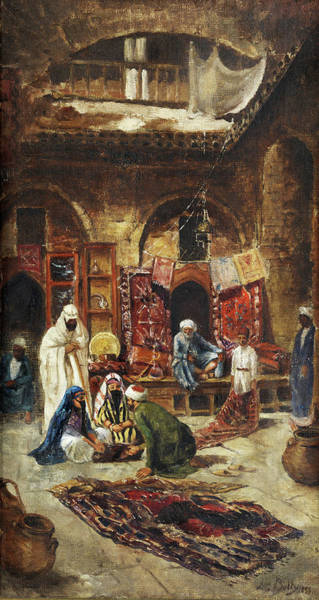 Wall Art - Painting - On The Oriental Bazaar by Leon-Adolphe-Auguste Belly
