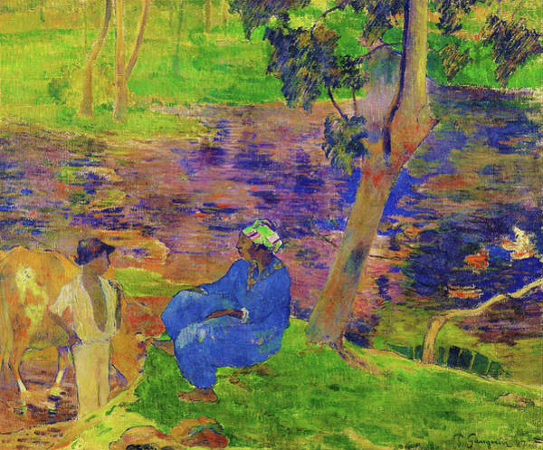 Wall Art - Painting - On The Shore Of The Lake At Martinique - Digital Remastered Edition by Paul Gauguin