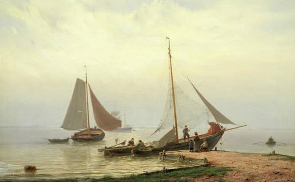 Ocean Scape Painting - On The Zuiderzee by Johannes Hermanus Barend Koekkoek