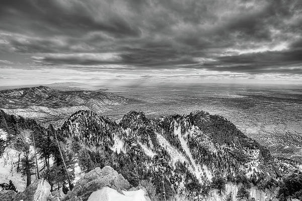 Photograph - On Top Of The World Sandia Peak Black And White by JC Findley