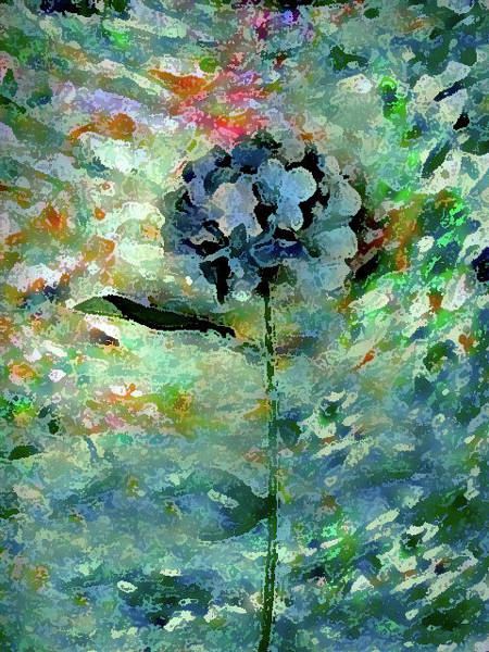Mixed Media - One Blue Flower by Corinne Carroll