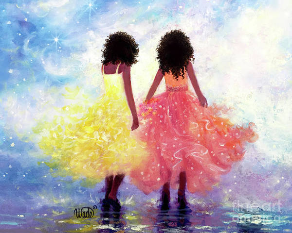 Wall Art - Painting - One Fine Day African American Sisters by Vickie Wade