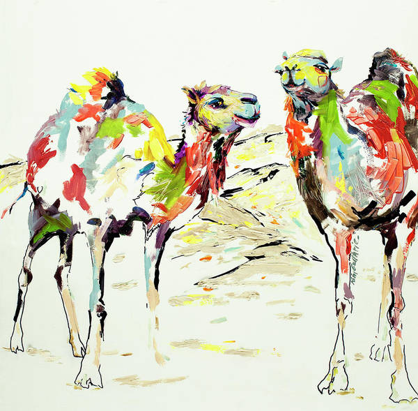 Wall Art - Painting - One Hump Or Two Painting Of Camels by Kim Guthrie