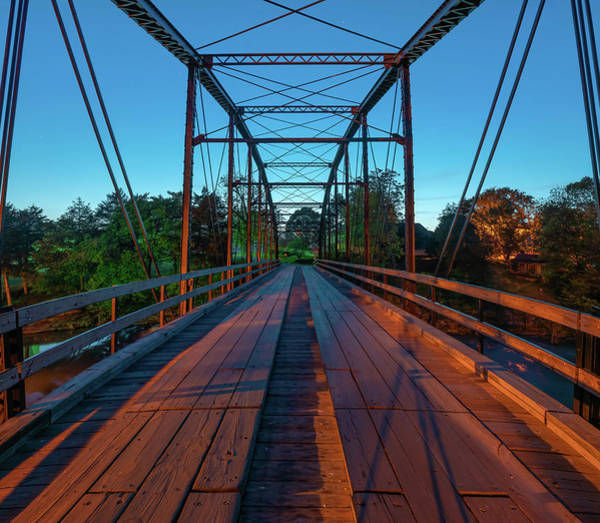 Photograph - One Lane Steel Bridge Over War Eagle Creek by Gregory Ballos