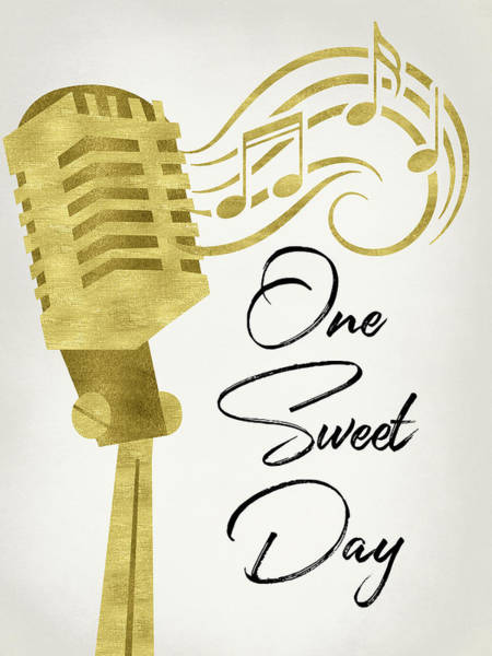 Wall Art - Digital Art - One Sweet Day - Gold Microphone by Flo Karp