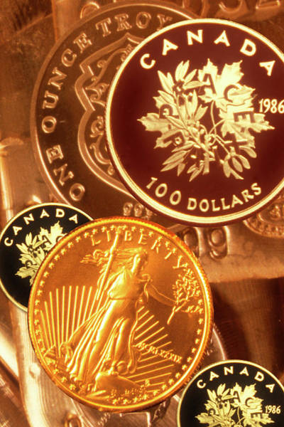 Canadian Culture Photograph - One Troy Ounce Us And Canadian Gold by Lyle Leduc