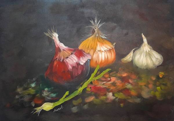 Painting - Onions And Garlics by Manar Hawsawi