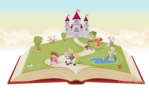Magic Wall Art - Digital Art - Open Book With Cartoon Princesses And by Denis Cristo
