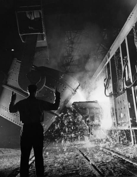 Wall Art - Photograph - Open Hearth Furnace At Us Steel by Chicago History Museum