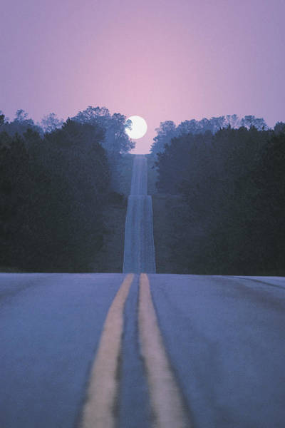 Setting Photograph - Open Road With Moon Rising by Comstock