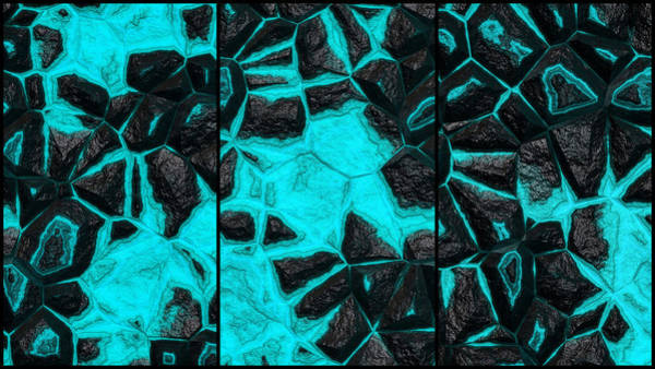 Digital Art - Open Wall Light Blue Abstract Triptych by Don Northup