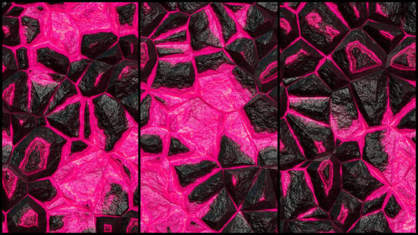 Digital Art - Open Wall Pink Abstract Triptych by Don Northup
