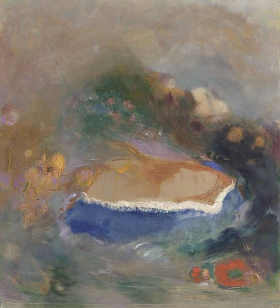 Ophelia Painting - Ophelia, Blue Cloak On The Water, 1900-05 by Odilon Redon