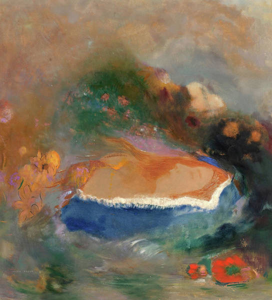 Ophelia Painting - Ophelia With A Blue Wimple In The Water by Odilon Redon