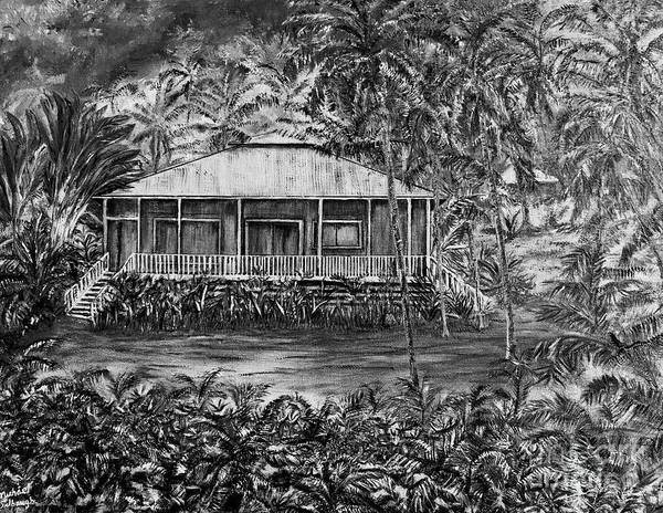 Wall Art - Painting - Opihikao Hale In Black And White by Michael Silbaugh
