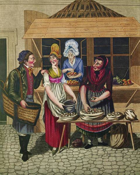 Commodity Painting - Opitz, Johann Adolf Women Selling Snails, From A Series Of 'viennese Types', Around 1810. by Johann Adolf Opitz