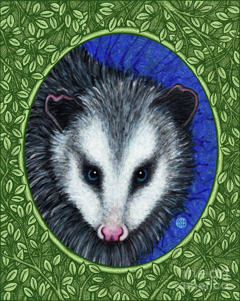 Painting - Opossum Portrait - Green Border by Amy E Fraser