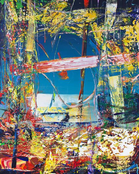 Wall Art - Painting - Opt.04.19 'star In The Window' by Derek Kaplan