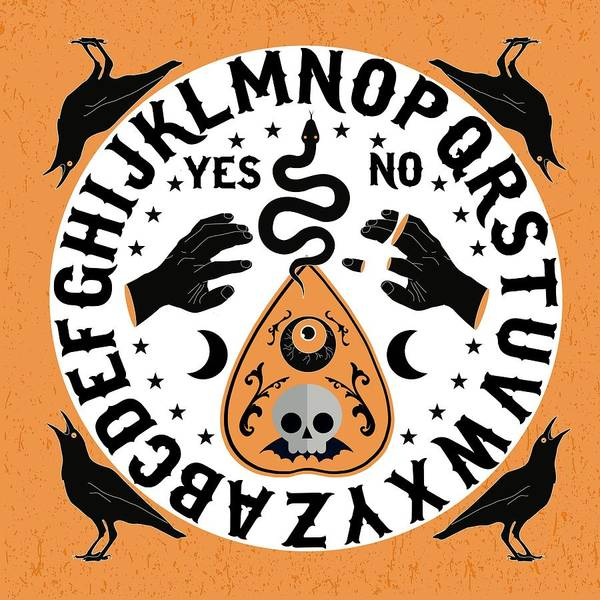 Wall Art - Painting - Orange And Black Modern Ouija Board With Ravens by Little Bunny Sunshine