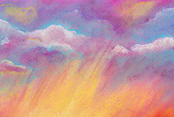 Wall Art - Drawing - Orange And Pink Abstract Colorful Sky Background by Elena Sysoeva