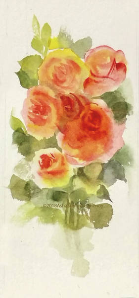 Wall Art - Painting - Orange And Yellow Roses by Asha Sudhaker Shenoy
